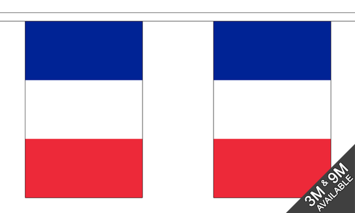France Normandy Polyester Flag Bunting 9m long with 30 Flags