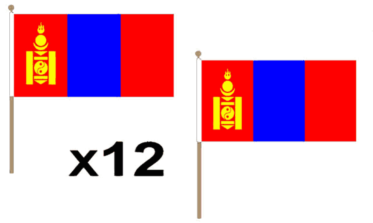 Mongolia Hand Flags (Medium)