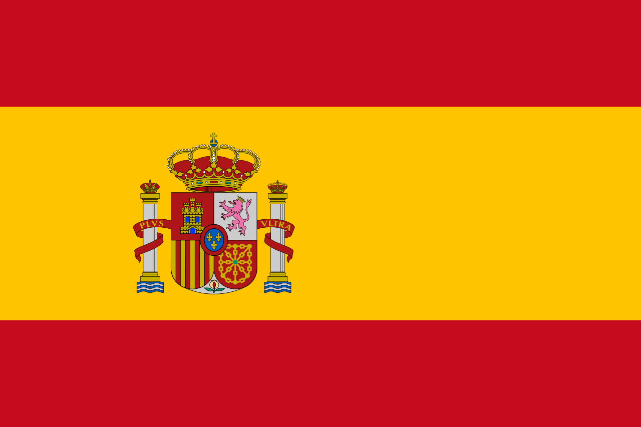 Spain Flag Red and Yellow with Spanish Crest