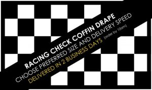 racing check coffin drape